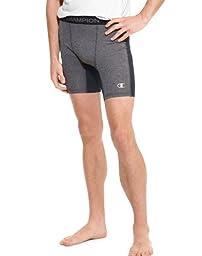 Champion Men\'s Powerflex Compression Short 6 Inch, Slate Grey Heather/Black, X-Large