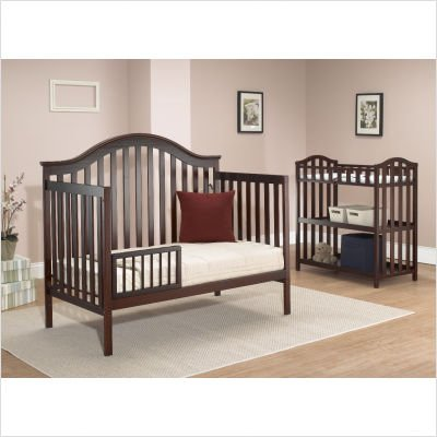 Bundle-09 Lynn Two Piece Convertible Crib Set In Merlot (4 Pieces)