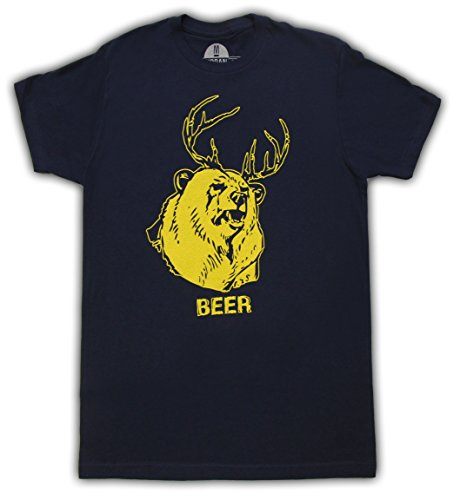 Beer Bear+Deer Mac Navy Adult T-shirt Tee (Medium) (Beer Bear compare prices)