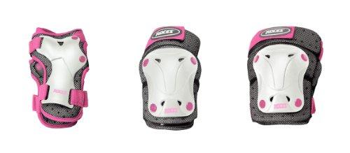 Roces Ventilat Protezioni Skates, 3 Pezzi, Bianco/Rosa, M Junior