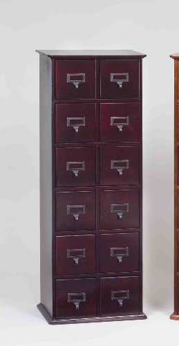 Leslie Dame CD-228C Solid Oak Library Card File Media Cabinet, 12 Drawers, Cherry (Solid Oak File Cabinet compare prices)