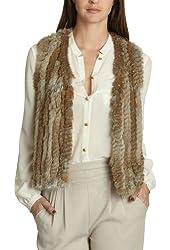 Berry Queen Women's Vintage Real Knitted Rabbit Fur Vest