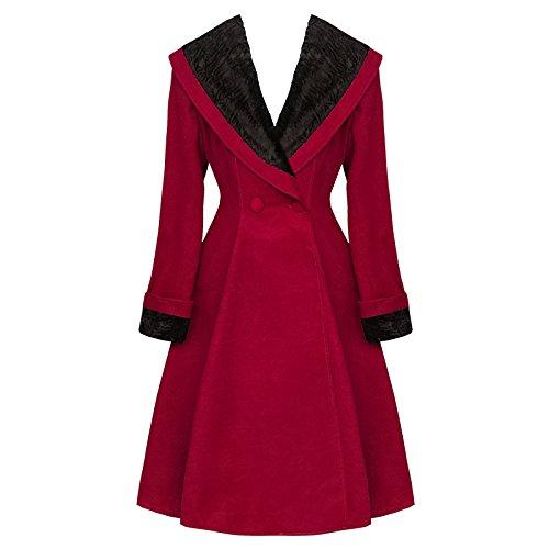 Cappotto HELL BUNNY Vivien vino rosso Vintage anni 50 l'inverno cappotto collo in pelliccia