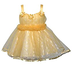 ChipChop Biege Empire Waist Party wear Round Neck Dress for Girls