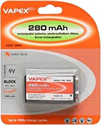 Vapex PP3 RECHARGEABLE Battery Pack 250maH 9v NiMH (Common Uses:Smoke Alarms, Torches, Wireless Microphones, Electro Acoustic Guitars, Medical Devices, Clocks, Toys, RC Cars, RC Toys) by Digital Additions
