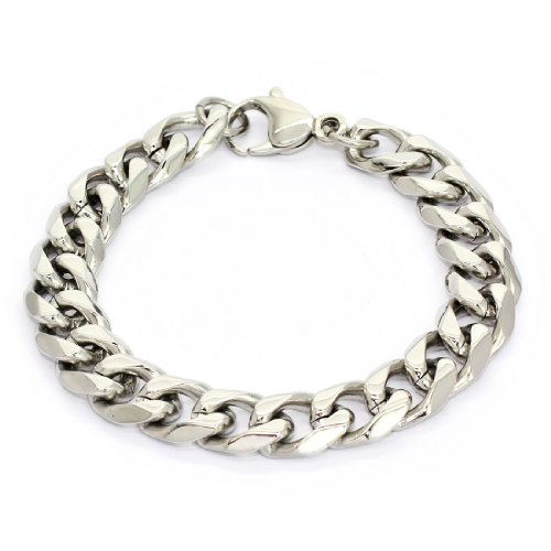 STAINLESS STEEL Stylish Bracelet / Bangle With Cuban Links, 9'' (LIFETIME WARRANTY)