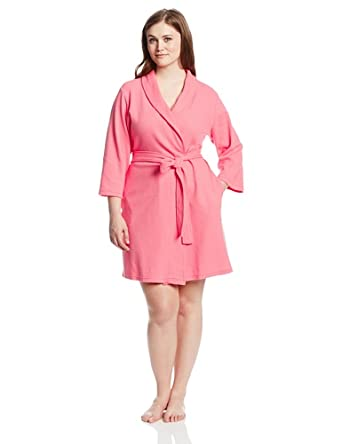 Casual Moments Women's Plus-Size Waffle Knit Robe In Plus, Mid Pink, 1X