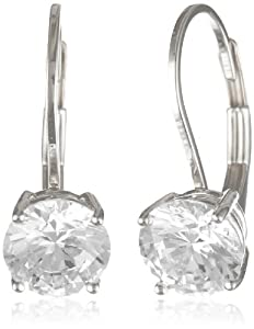 Platinum-Plated Sterling Silver and Round-Cut Cubic Zirconia Lever Back Earrings