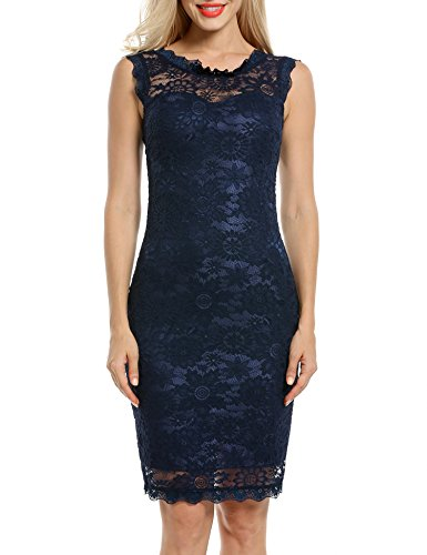 Acevog Women's Elegant Floral Sleeveless Lace Cocktail Evening Dress (Small, Blue)