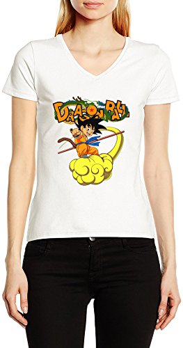 Dragon-Ball-Z-DBZ-Goku-On-Kinto-V-Cuello-Camiseta-Para-Mujer-Blanco-Todos-Los-Tamaos-Womens-V-Neck-T-Shirt-White