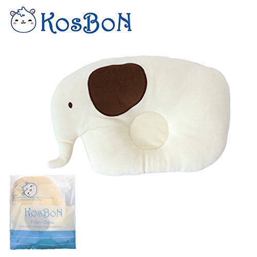 KSB 7.8 Inches Cute Soft Anti Roll PP Cotton Baby Head Positioner Pillow,Prevent Flat Head For 3 Months- 3 Year Infant(1 PCS Elephant)