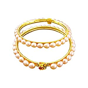 J Pearls Peach Oval Pearl Bangles at amazon