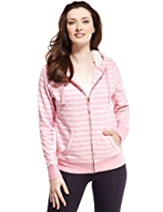 M&S Collection Zip Through Striped Hooded Top