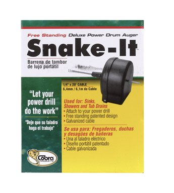 Cobra Products 87200 1/4-Inch-by-20-Foot Snake-It Free-Standing Drain Clearing Power Drum Auger
