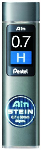 Pentel Ain Stein Mechanical Pencil Lead, 0.7Mm H, 40 Leads (C277-H)