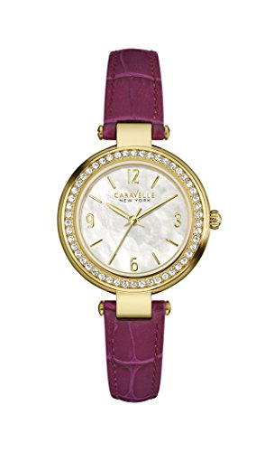 Caravelle New York Gold Mini T Bar Women's Quartz Watch with Mother of Pearl Dial Analogue Display and Purple Leather Strap 44L176