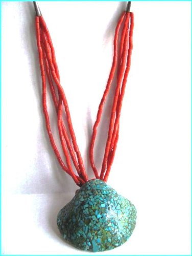Rare 1950'S Turquoise Inlaid Shell With Italian Coral Strands.. Women'S Necklace