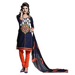 Paridhan Women'S Blue Cotton Embroidered Suit 002
