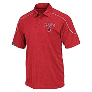 MLB Majestic Los Angeles Angels of Anaheim The Rundown Synthetic Polo - Red by Majestic
