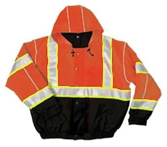 ML Kishigo Polyester Brilliant Series Bomber Jacket with Hidden Collar Hood, Orange