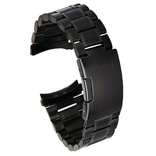 (ドノロロジオ)DonOrologio 腕時計用 弓カン ステンレス製 サイドプッシュ 3つ折 片開き サテン仕上げ 三連 交換用 バンド ベルト (ブラック) 22mm
