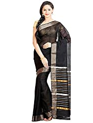 Anagha Handloom Mangalagiri Silk-Cotton Saree - Black