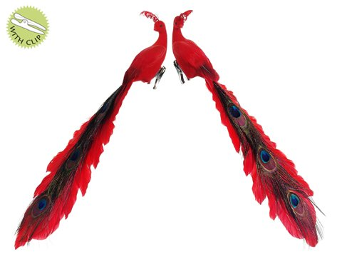 Set of 2 Peacock Red Closed Tail Clip-On Ornaments