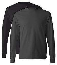 Hanes, 5586, Men\'s, Tagless Long Sleeve Tee, 1 Black + 1 Smoke Grey, Medium