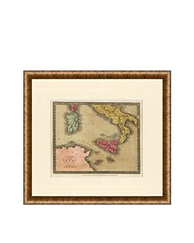 Map Antiquities Antique Map Of Southern Italy, 1935, Multi