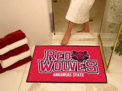 NCAA Arkansas State Red Wolves Chromo Jet Printed Area Rug Floor Mat 45