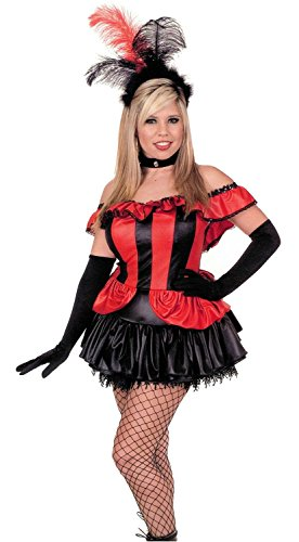 [Womens SM (5-7)- BLK/RED-Can Can Girl w/Gloves] (1800s Dresses Costumes)