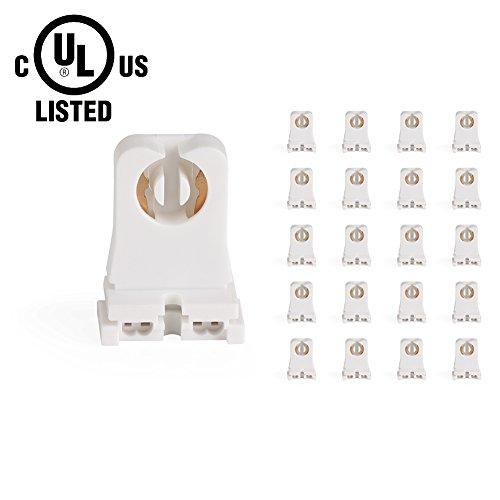 JACKYLED 20 Pcs of UL Listed Non-shunted T8 Lamp Holder Socket Tombstone for LED Fluorescent Tube Replacements Turn-type Lampholder, Medium Bi-pin Socket for Programmed Start Ballasts Standard Profile