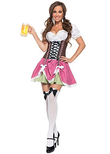 YOUJIA Women Germany Beer Maid Dress Outfits Halloween Cosplay Costumes Pink (German Beer Maid Outfit)