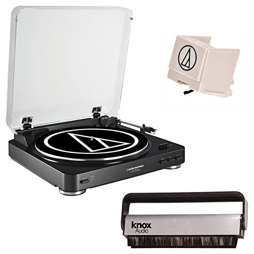 Audio-Technica-AT-LP60-Fully-Automatic-Belt-Driven-Turntable-with-Knox-Vinyl-Brush-Cleaner-Black