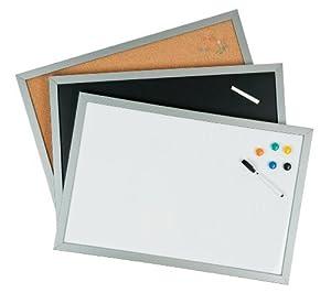 Whiteboard tafel pinnwand je 60x40cm 3er set mit silberfarbenem rahmen magnetwand korkwand - Korkwand baumarkt ...