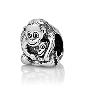 Chuvora Sterling Silver Monkey with Child Bead Charm Fits Pandora Bracelet