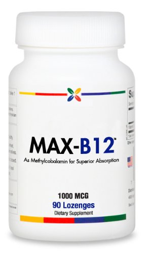 Max-B12 Vitamin B12 Lozenges 1000 Mcg. 100% Methylcobalamin | 90 Lozenges. Made In Usa (6 Pack $9.95 Per Bottle)