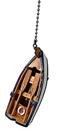 Wooden FISHING row BOAT Beach Ocean LAKE lodge theme Ceiling FAN PULL light chain extender (Blue trim Boat)