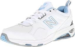 New Balance Women\'s WX857 Cross-Training Shoe,White/Blue,6.5 2A US