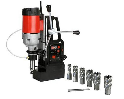 Great Features Of Electromagnetic Magnetic Mag Drill Press with HSS Annular Slugger Cutter Set 1