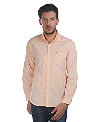 Oxemberg Men's Solid Casual 100% Cotton Peach Shirt