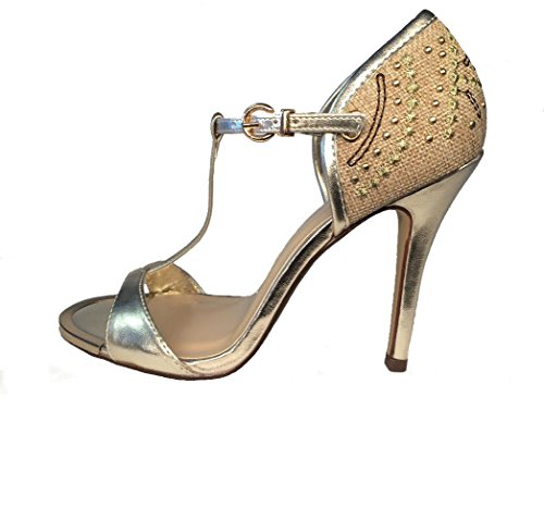My Delicious Trail Gold Embroidered T Strap Heels