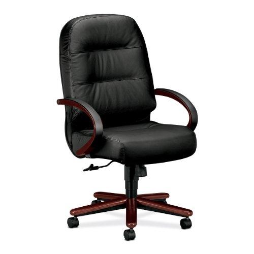 HON 2191NSR11 2190 Pillow-Soft Wood Series Executive High-Back Chair, Mahogany/Black Leather
