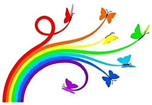 Rainbow mariposas Pelar y palo Tatuajes de pared, 36 pulgadas de ancho
