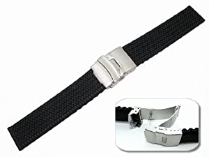 Mens Rubbertech (TM) Silicone Rubber Watchband Stainless Steel Deployment Buckle - by JP Leatherworks