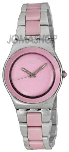 Swatch Pink Ceramic Ladies Watch YLS167G