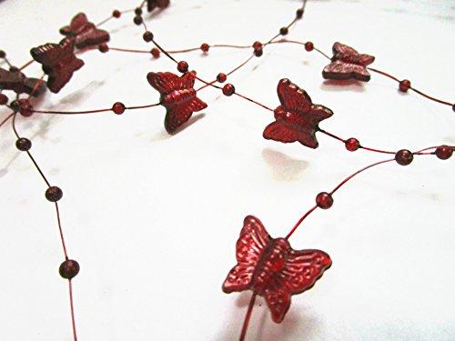 10m rouleau guirlande de perles et de papillons: Vin Rouge