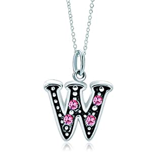 Pugster Silver Rose Pink Crystal Diamond Accent Letter W Link Charm Charms Bracelet & Pendant Necklace