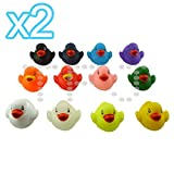 12 Assorted Coloured Baby Bath Ducks Great Gift To Your Little Ones Set of 2