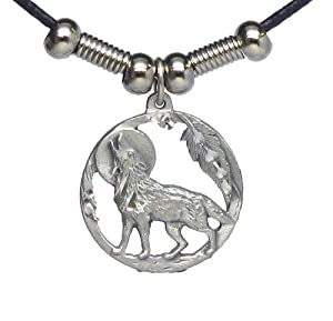 howling wolf in circle pendant beaded black